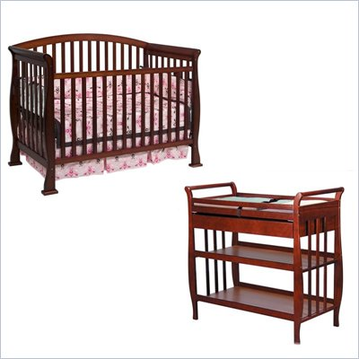 DaVinci Thompson 4-in-1 Convertible Wood Crib Set w/ Toddler Rail in Cherry
