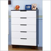 Babyletto Modo 5 Drawer Chest in Espresso and White Finish