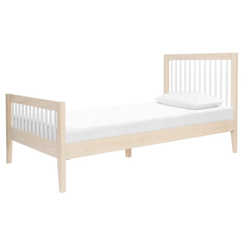 Babyletto Sprout Twin Spindle Bed in Natural and White