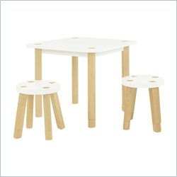 Babyletto Kaleidoscope Playset Table and Stools in White and Natural