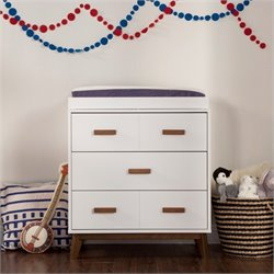 Babyletto Scoot 3-Drawer Changer Dresser in Walnut and White