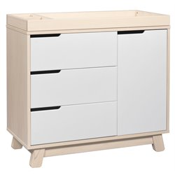 Babyletto Hudson 3-Drawer Changer Dresser in Washed Natural with White