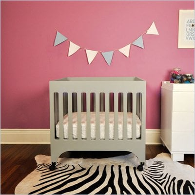 Babyletto Grayson Mini Crib with Pad in Grey