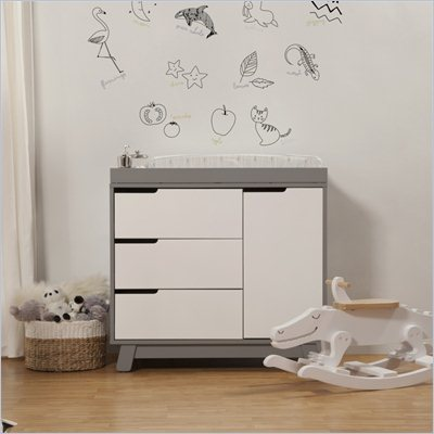 Babyletto Hudson Changer Dresser in Two-Tone Grey and White