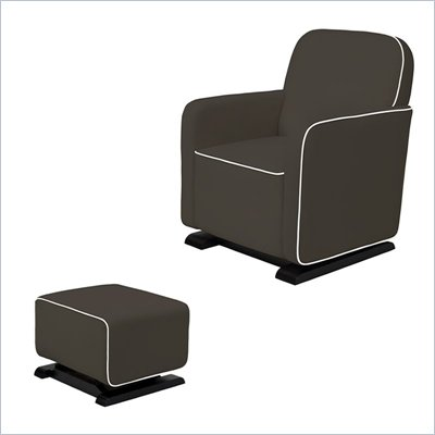 Babyletto Kyoto Glider and Ottoman in Slate with Ecru