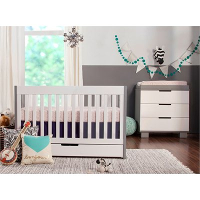 Babyletto Mercer 3 in 1 Convertible Wood Crib in Grey with White