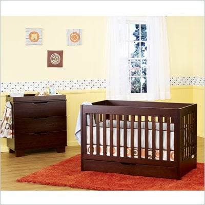 Babyletto Mercer 3-in-1 Convertible Wood Crib Set in Espresso