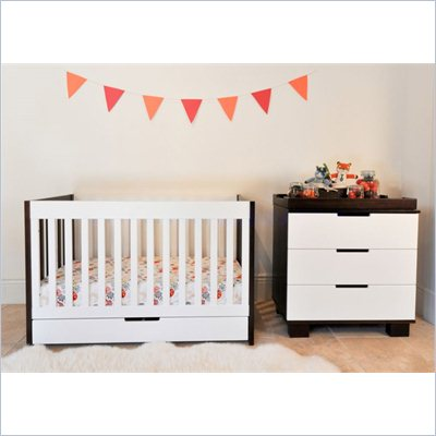 Babyletto Mercer 3 in 1 Convertible Wood Crib in Two-tone Espresso/White