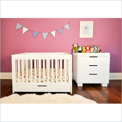 Babyletto Mercer 3 in 1 Convertible Wood Baby Crib in White