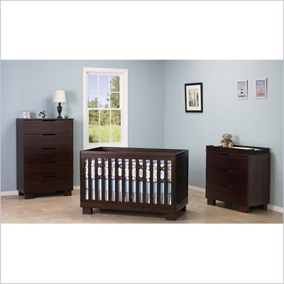 Babyletto Modo 3 in 1 Convertible Crib 3 Piece Nursery Set in Espresso