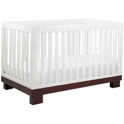 Babyletto Modo 3 in 1 Convertible Wood Crib in Two-tone White/Espresso