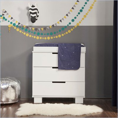 Babyletto Modo 3-Drawer Wood Changing Table w/ Tray in White