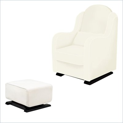 Babyletto Nara Glider and Kyoto Ottoman in Ecru