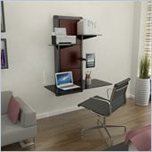 Atlantic Inc Evo Wall Mount Desk in Black/Walnut Cherry Wood
