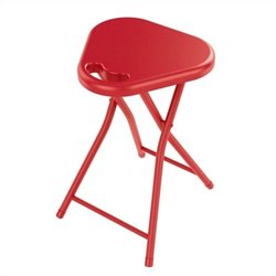Atlantic Inc Folding Stool with Handle in True Red (Set of 4)