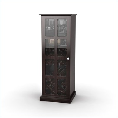 Atlantic Inc Windowpane 24 Wine Cabinet In Espresso