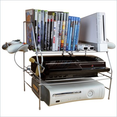 Atlantic Inc Game Depot Wire Gaming Rack For Youth Room in Silver