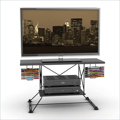 Atlantic Inc Soho 37 Inches TV Stand, Black, Black Carbon Fiber