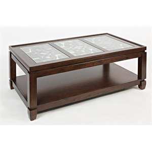 Jofran Casa Bella Glass Top Coffee Table in Cherry