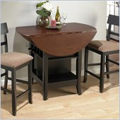Jofran 3 Piece Counter Height Drop Leaf Dining Set in Black/Brunette Cherry