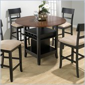 Jofran 5 Piece Counter Height Dining Set in Black/Brunette Cherry