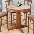 ADD TO YOUR SET: Jofran Round Counter Height Table in Saddle Brown Oak Finish
