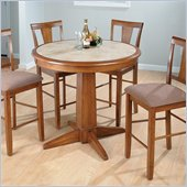 Jofran 5 Piece Counter Height Dining Set in Saddle Brown Oak