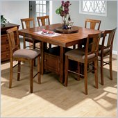 Jofran 7 Piece Counter Height Dining Set in Saddle Brown oak