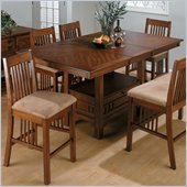 Jofran 5 Piece Mission Counter Height Dining Set in Saddle Brown Oak