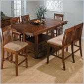 Jofran 7 Piece Mission Counter Height Dining Set in Saddle Brown Oak