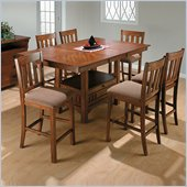 Jofran 7 Piece School House Counter Height Dining Set in Saddle Brown Oak