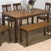 Jofran 6 Piece Rectangle Dining Set in Kura Espresso and Canyon Gold