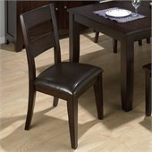 Jofran Conventional Height 1 Rung LadderBack Vinyl Side Chair in Dark Wood Finish (Set of 2)