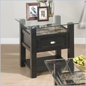 Jofran Marble Techmetric End Table in Basic Black