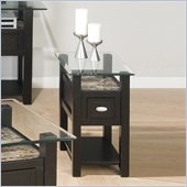 Jofran Marble Techmetric Chairside Table in Basic Black