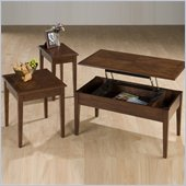 Jofran Boise Wood Top Rectangular Coktail Table Set with Lift-Top in Cherry