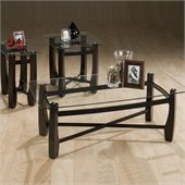 Jofran Tania Rectangular Glass Top Cocktail Table Set in Espresso Finish