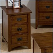 Jofran Mission Hill Chairside Table with 3 Drawers in Oak