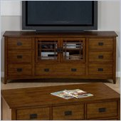 Jofran Mission Hill TV Stand with 7 Drawers and 2 Doors in Oak