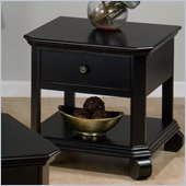 Jofran Billings Square End Table with Drawer and Door in Black