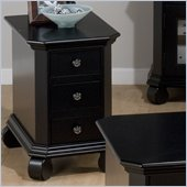 Jofran Billings Chairside Table with 3 Drawers in Black