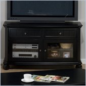 Jofran Billings TV Stand with Tempered Glass in Black