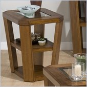 Jofran Ernie Chairside Table with Glass Top in Elm