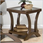 Jofran Kirstin End Table with Glass Top in Cherry