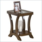Jofran Kirstin Chairside Table with Glass Top in Cherry