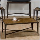 Jofran Glenna Rectangle Coffee Table in Elm and Black Metal 