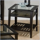 Jofran Sherman End Table with Tempered Glass in Stone