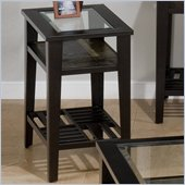 Jofran Sherman Chairside Table with Tempered Glass in Stone