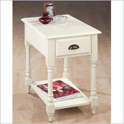 Jofran Turned Leg Chairside Table in Antique White Finish