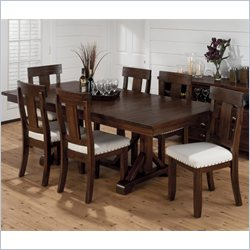 Jofran 7 Piece Trestle Dining Set in Urban Lodge Brown